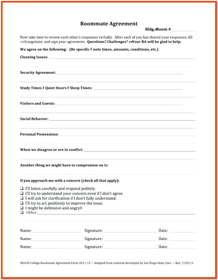 Room Rent Contract Form