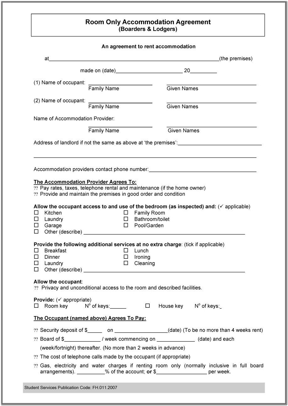 Roommate Lease Agreement Form
