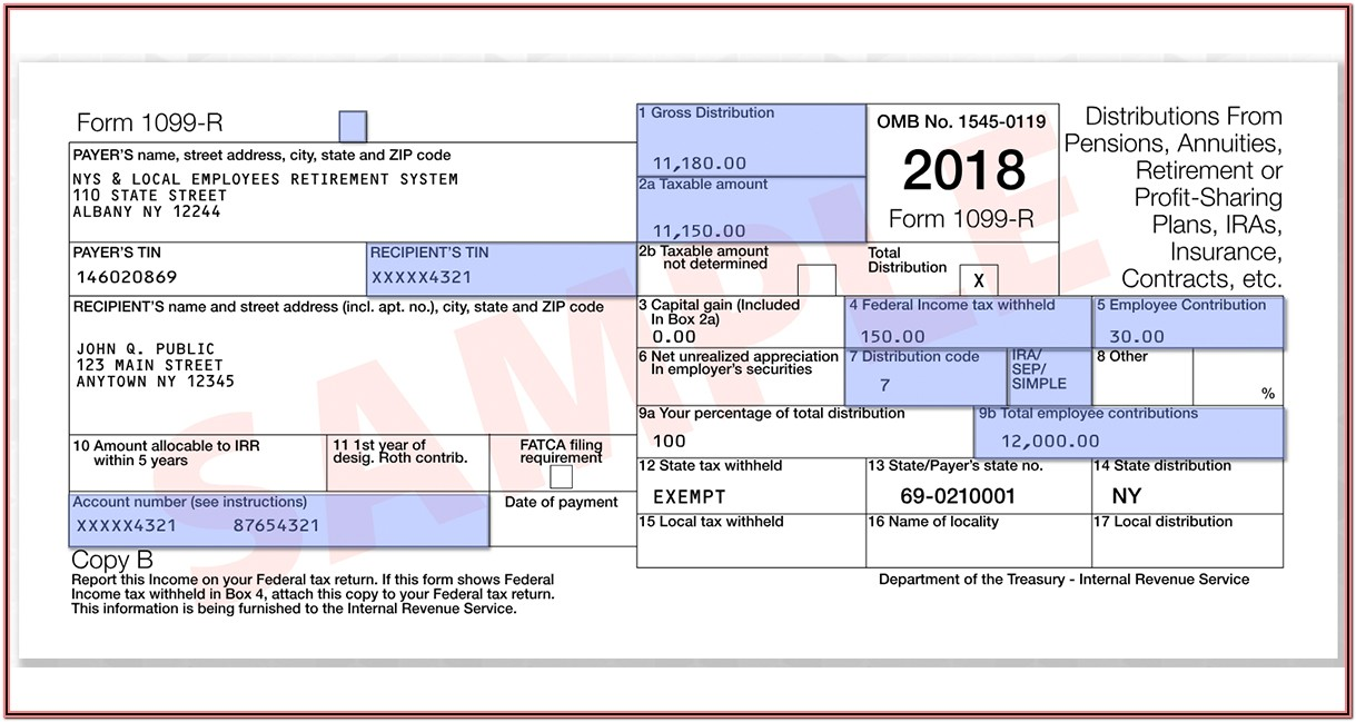 Sample 1099 R Form Filled Out