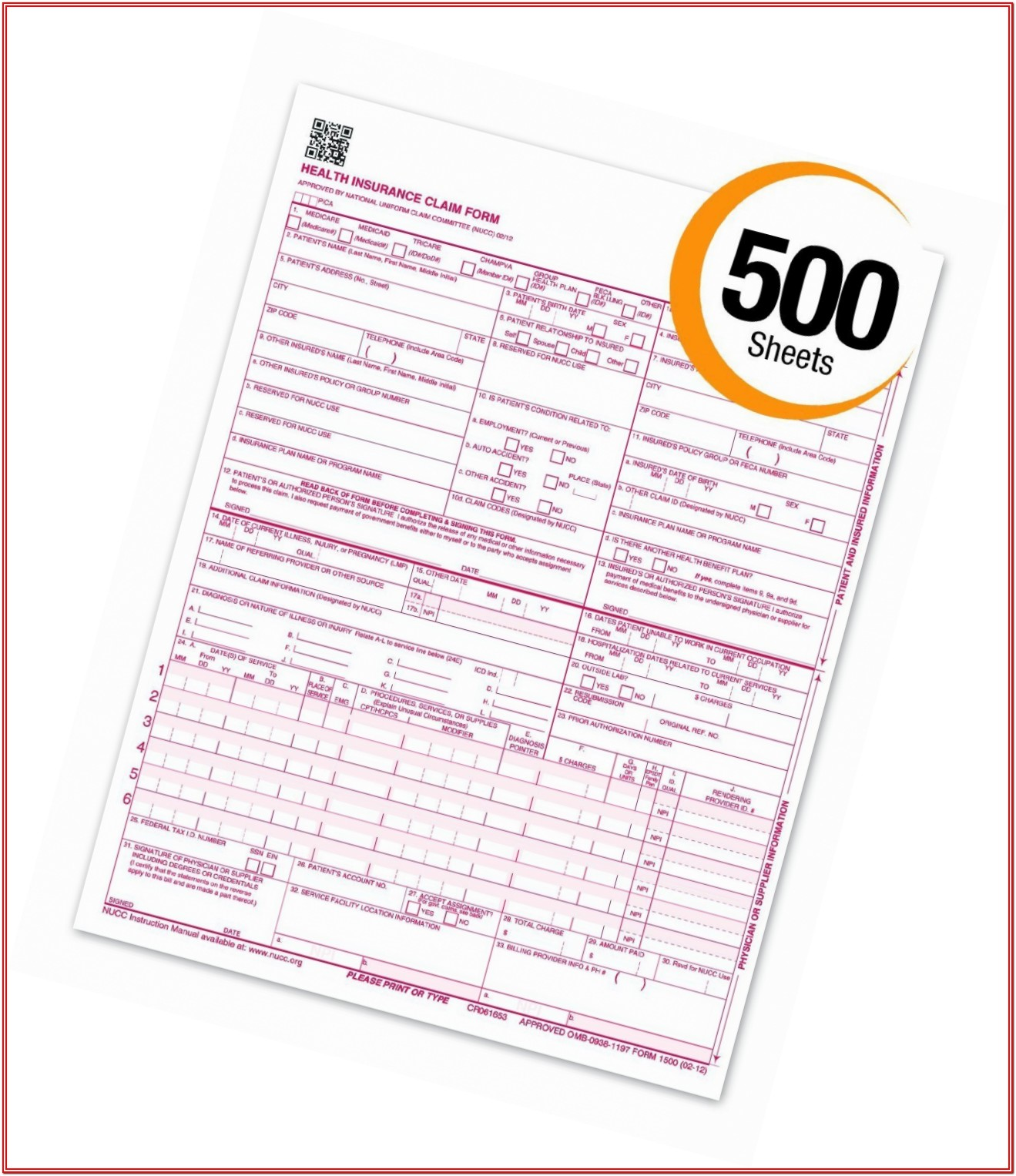 Sample 1500 Claim Form