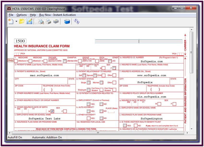 Sample Cms 1500 Claim Form Completed