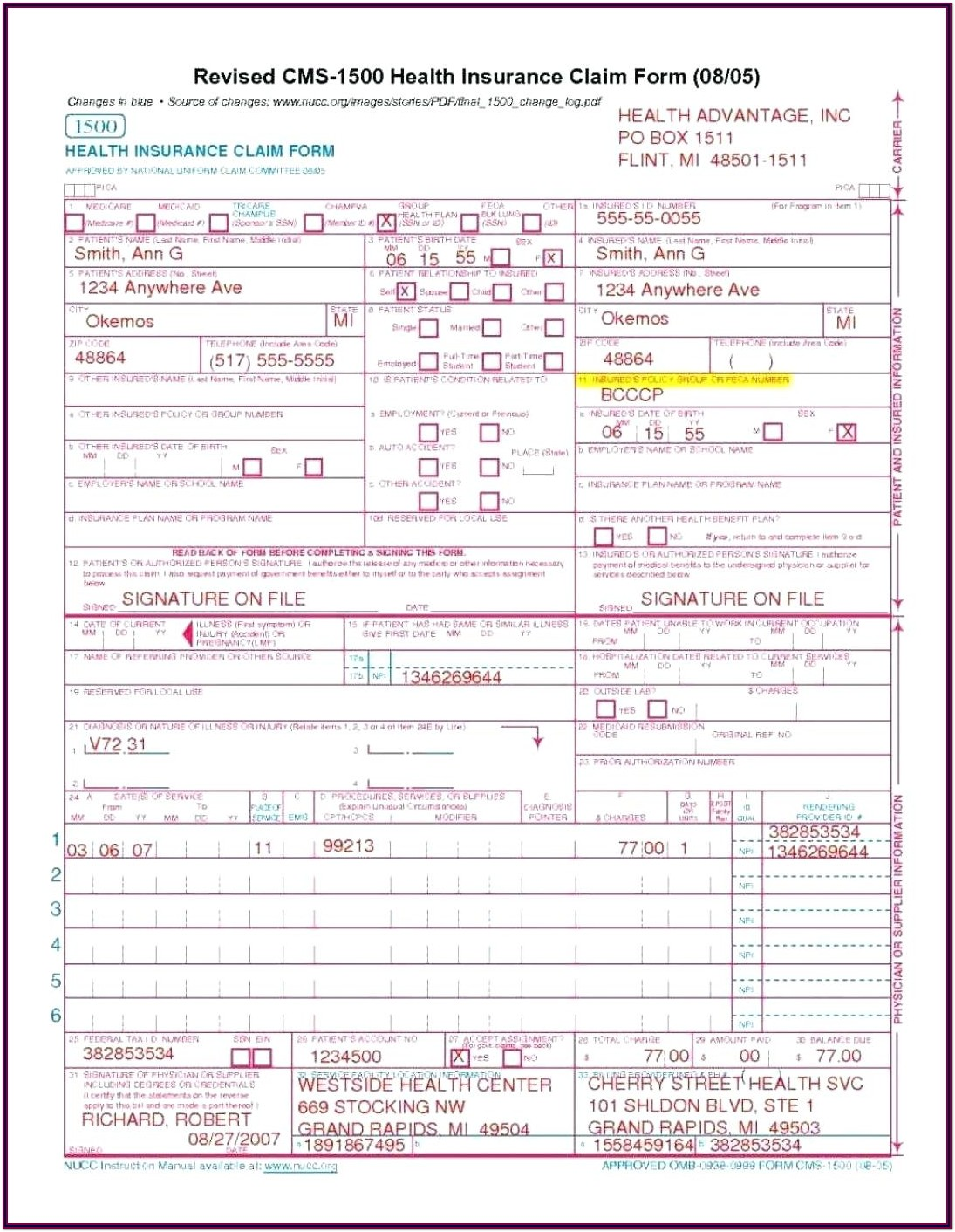Sample Cms 1500 Form