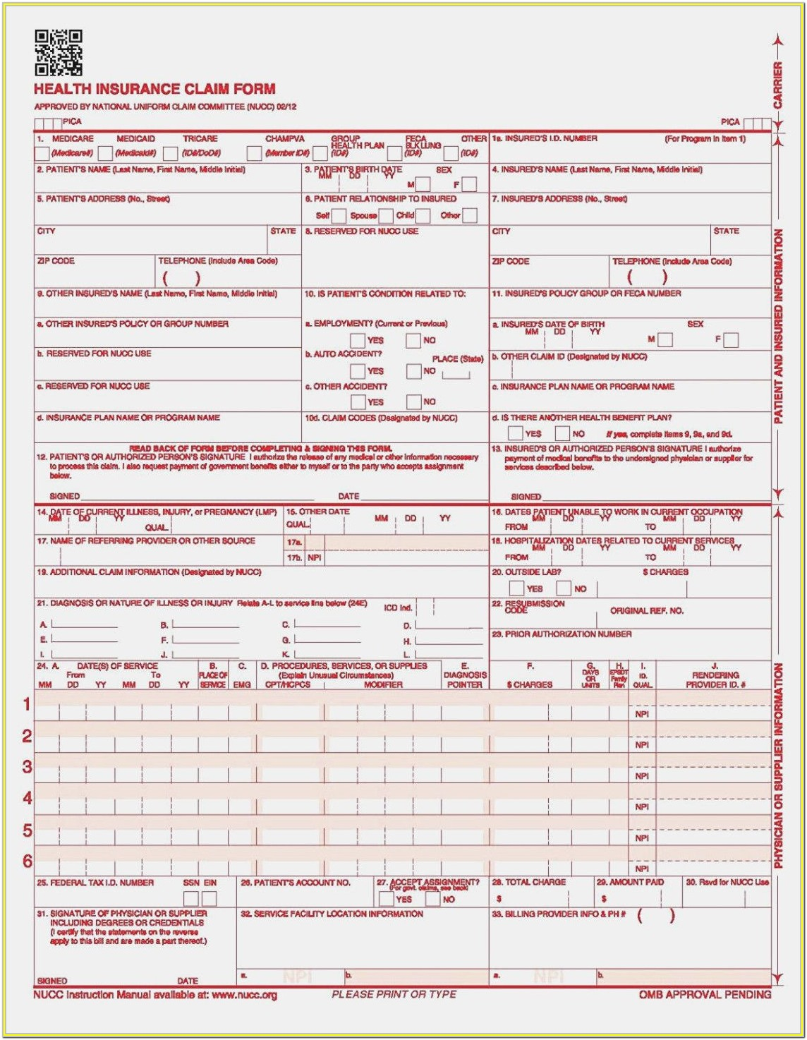 Sample Hcfa 1500 Form
