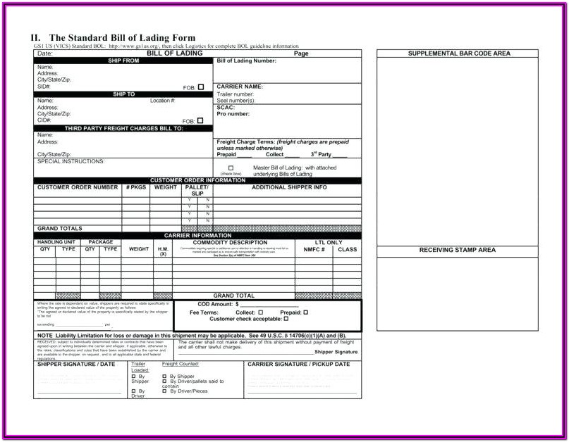 Sample Printable Bill Of Lading Form