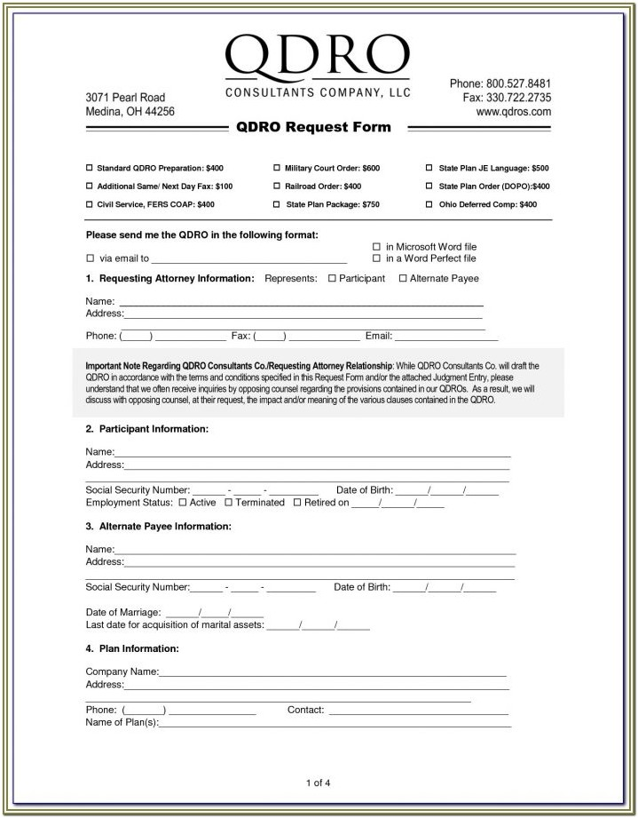 Sample Qdro Form New York