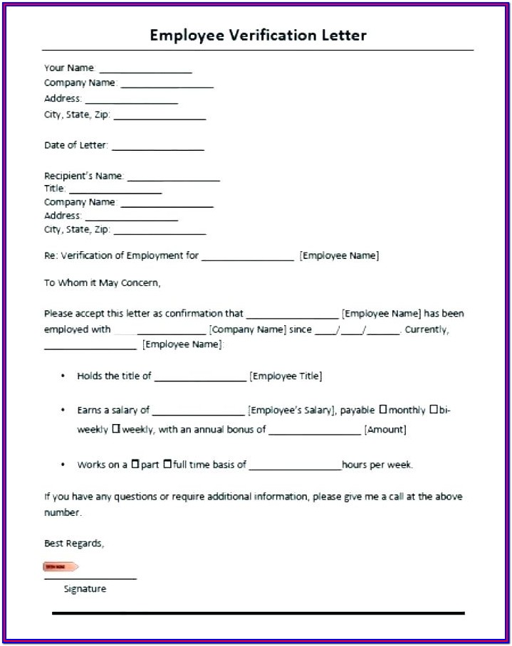 Sample Tenant Verification Form