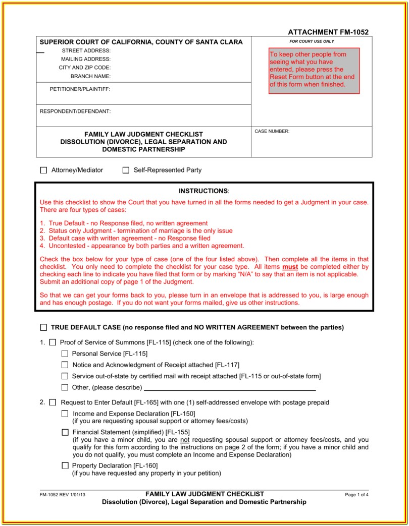 Santa Clara County Divorce Forms