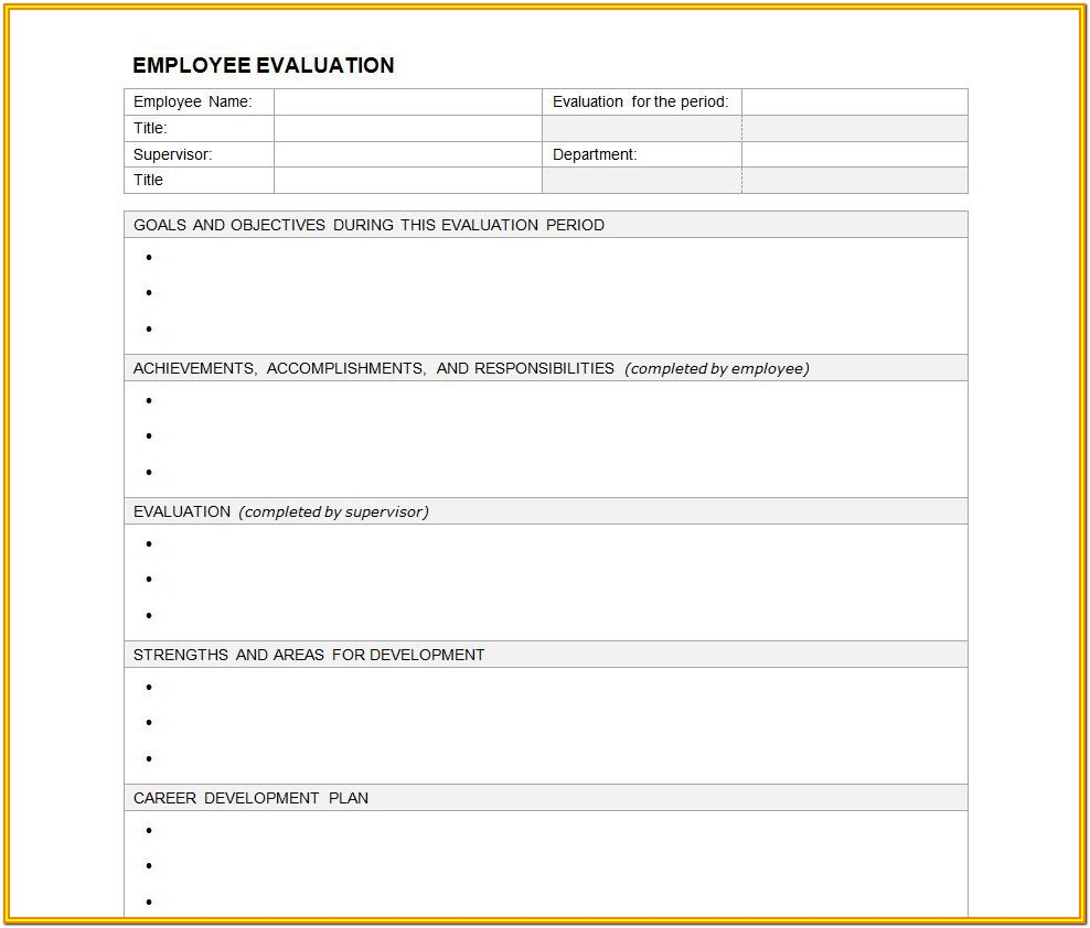 Self Evaluation Employee Performance Appraisal Form Template