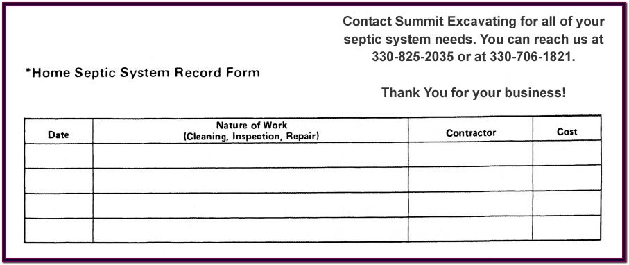 Septic Tank Inspection Form