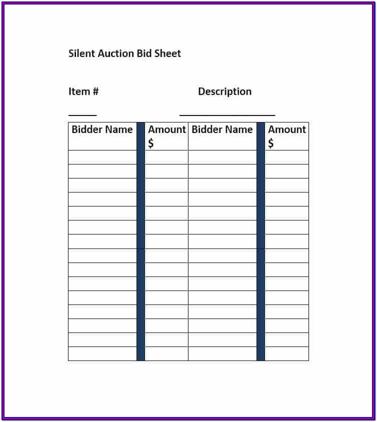 Silent Auction Bid Forms Templates