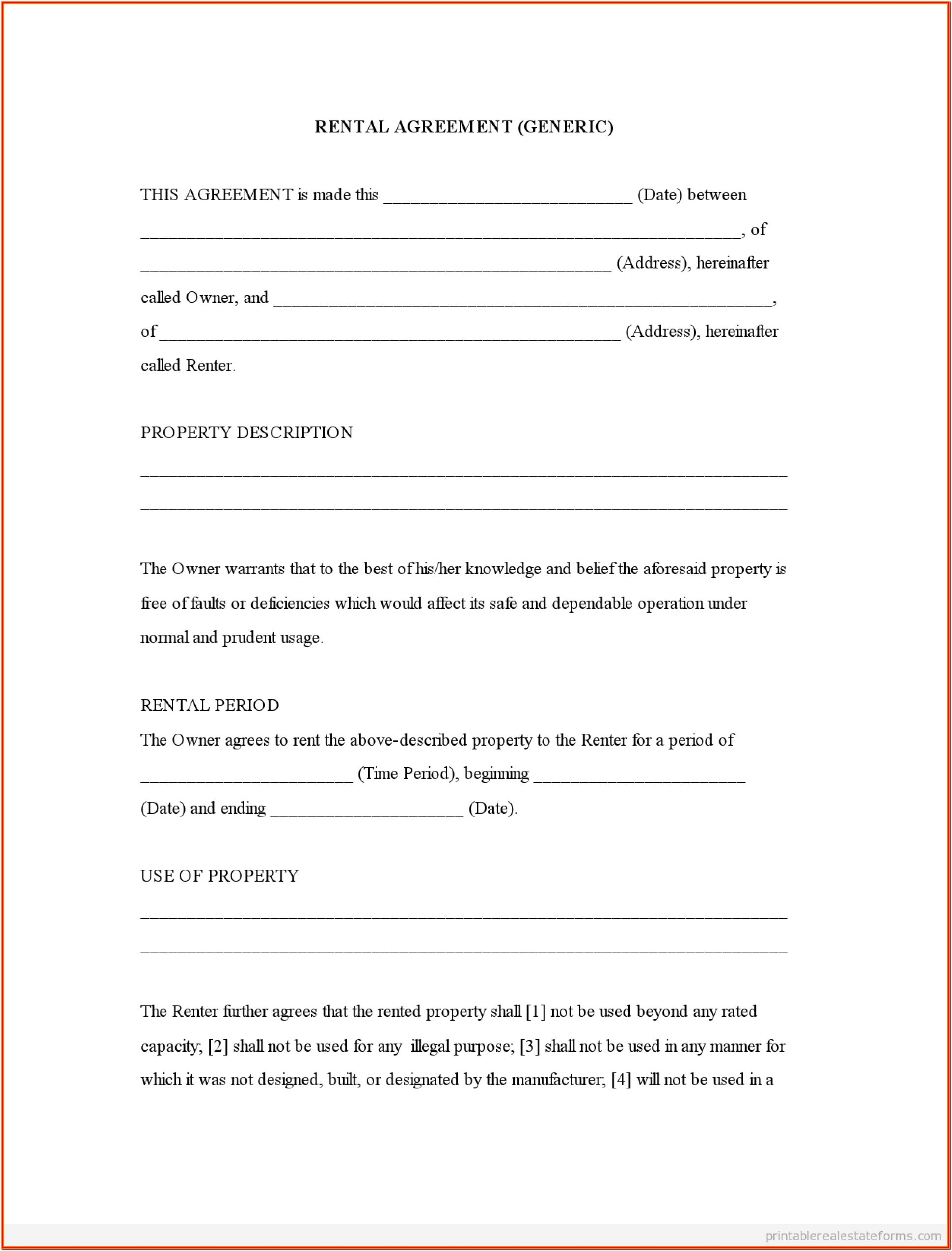 Simple Renters Agreement Form