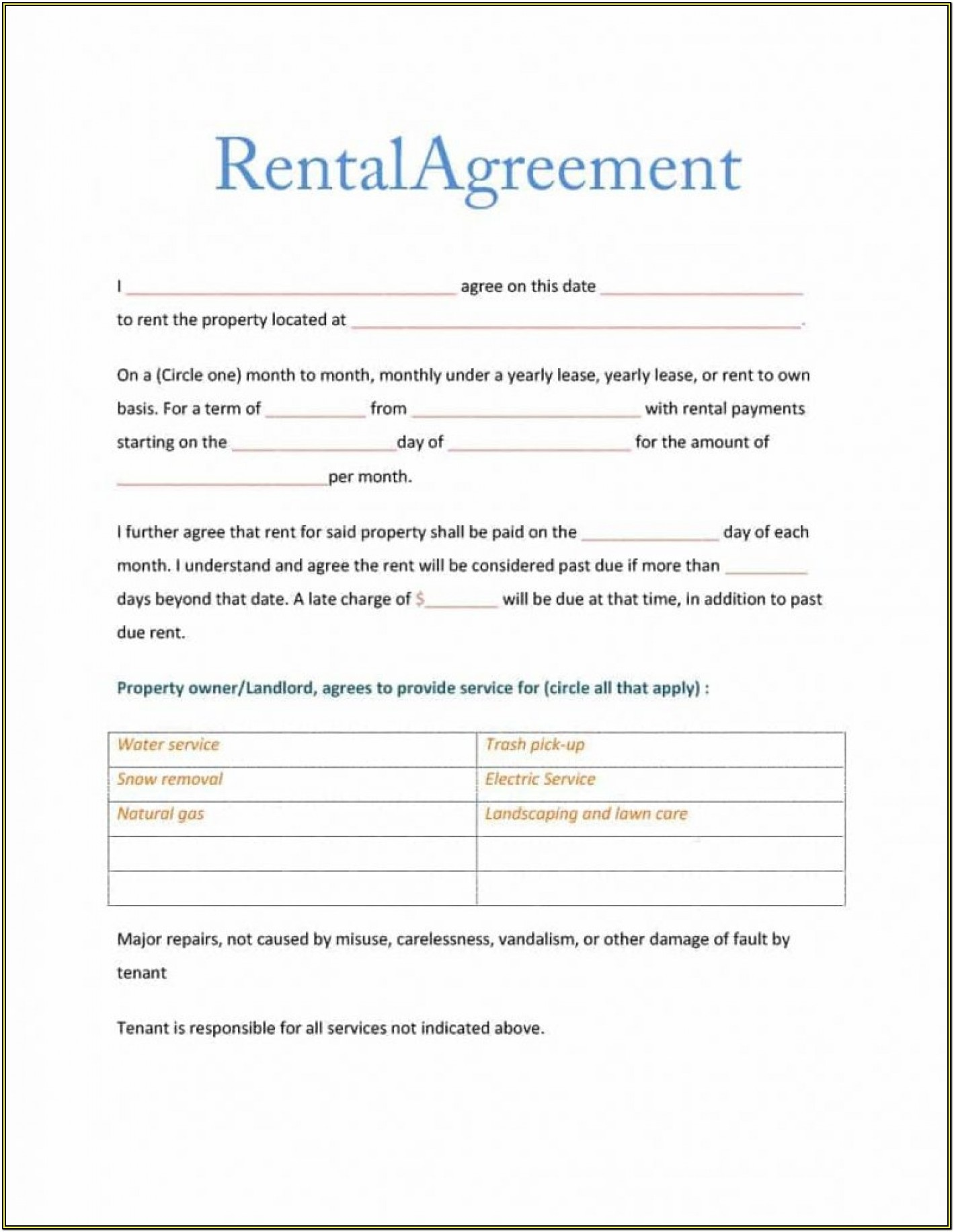 Simple Sublease Agreement Form