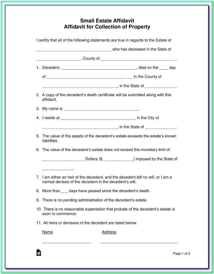 Small Estate Affidavit Form California Pdf