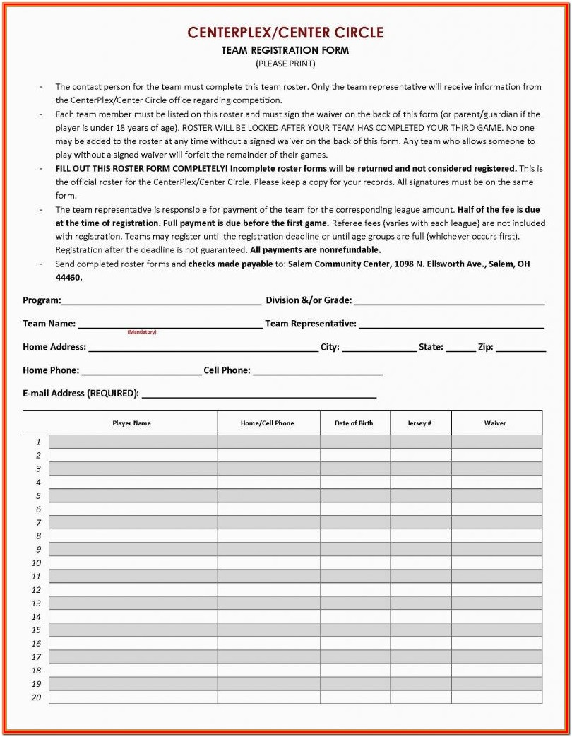 Sports Registration Form Template