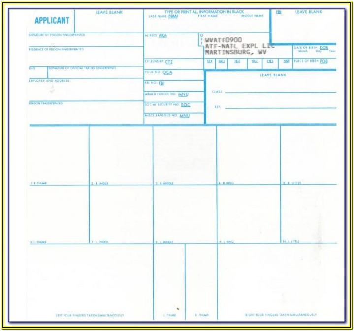Standard Fingerprint Form Fd 258 Download