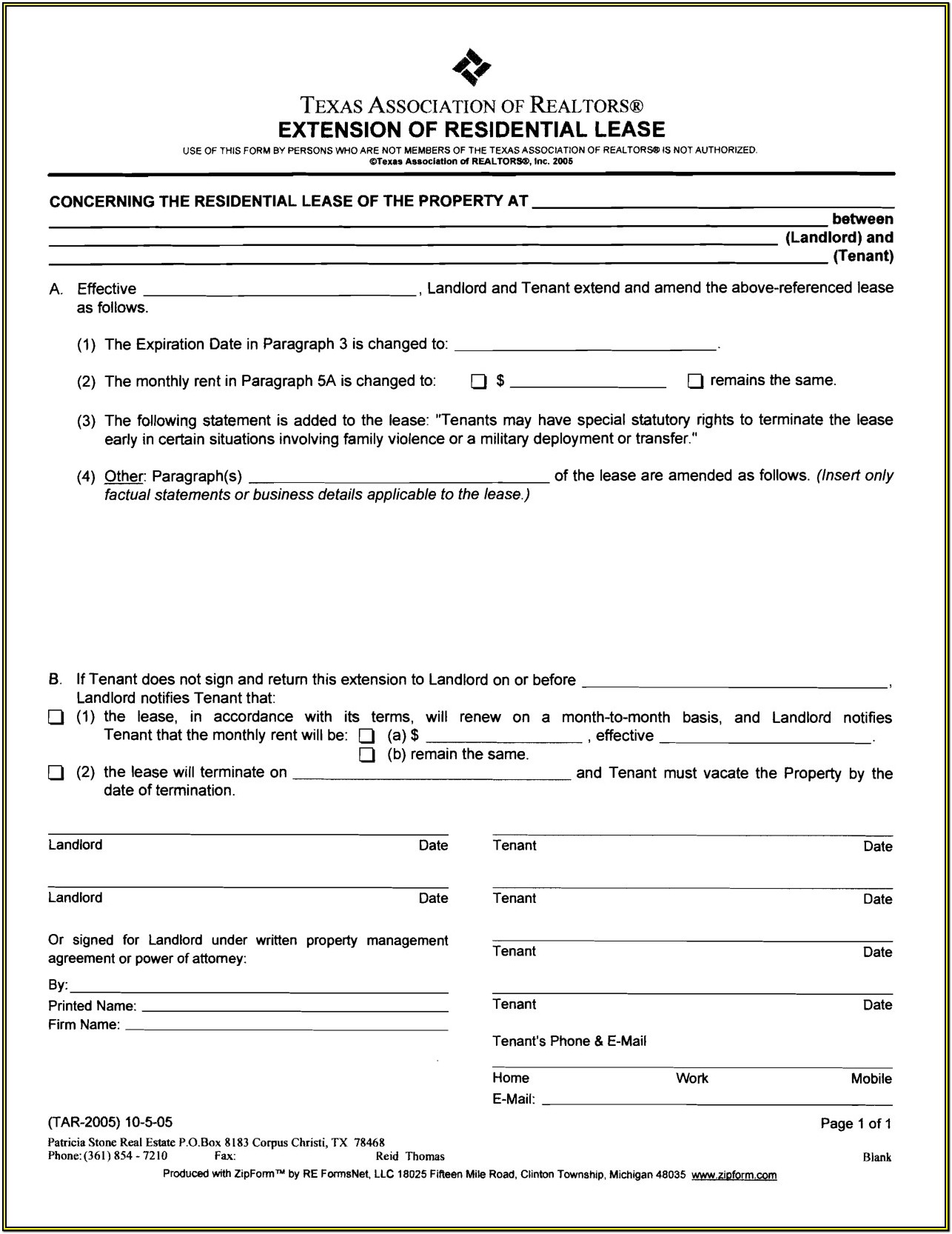 Standard Residential Lease Form Massachusetts