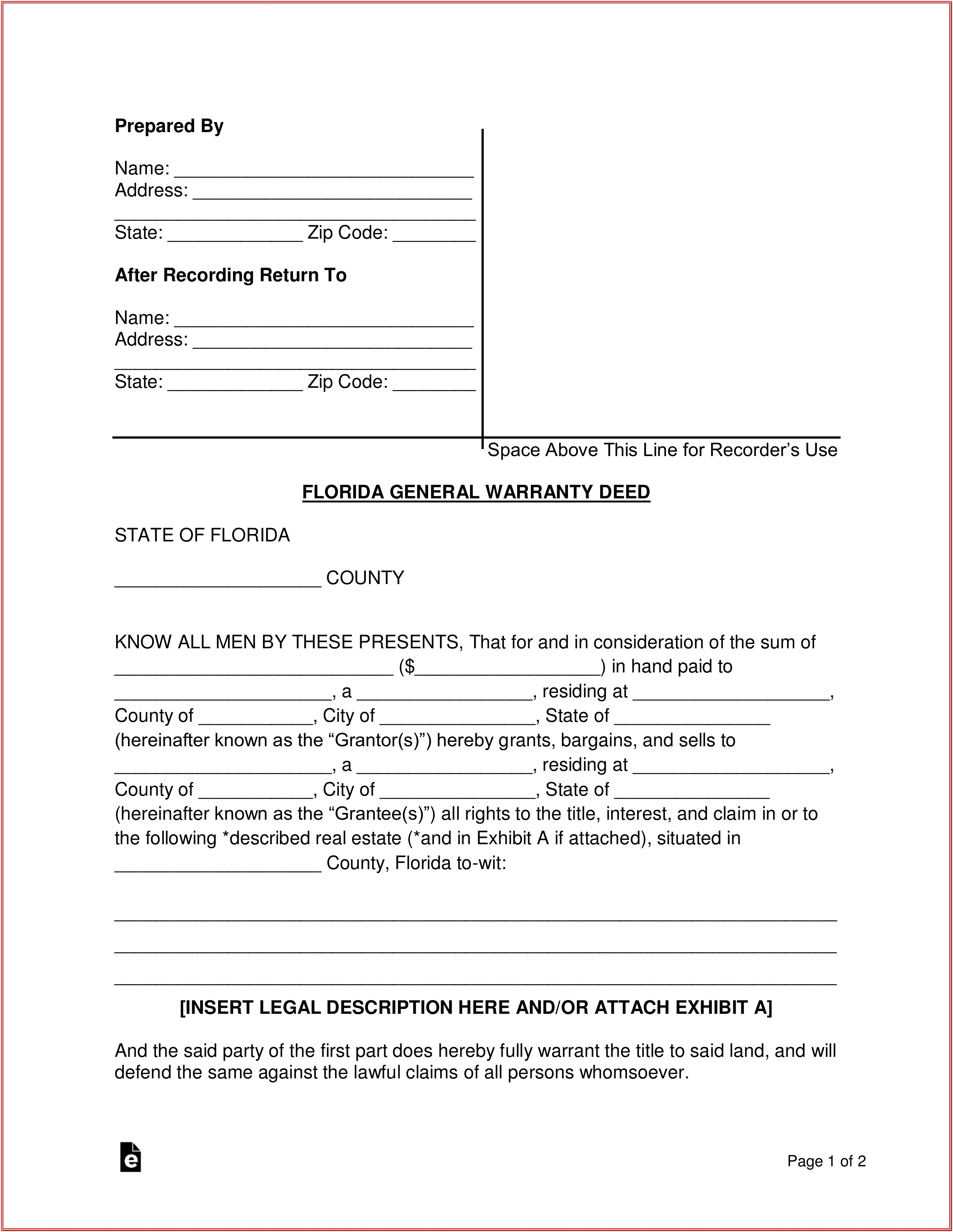 State Of Florida Quit Claim Deed Form