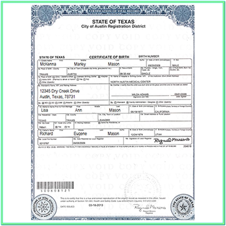 State Of Texas Long Form Birth Certificate
