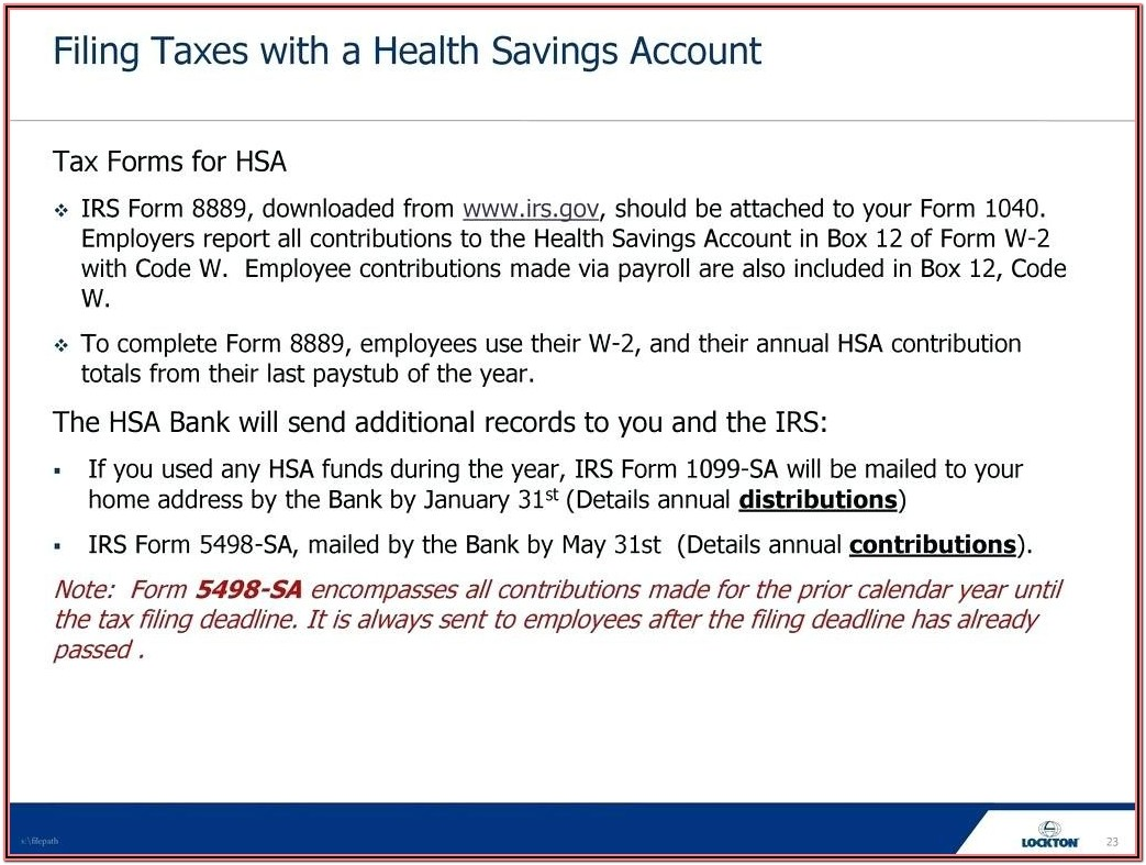Tax Form 8889 For 2013