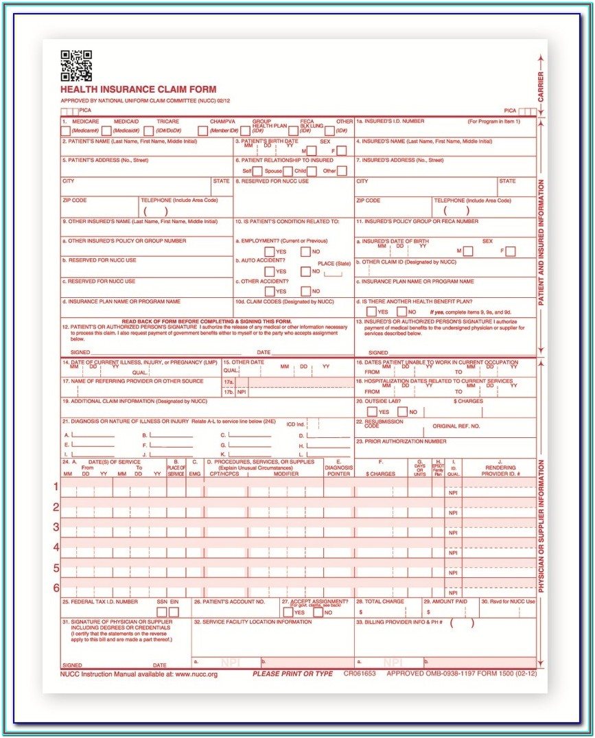 Template Cms 1500 Claim Form