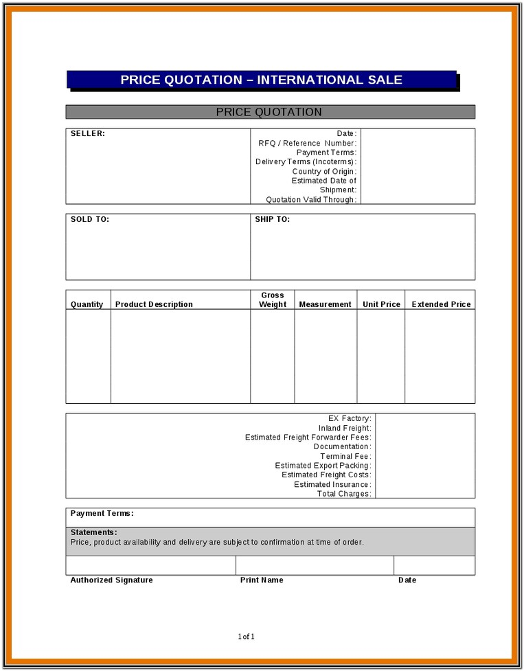 Template Sample Quotation Form