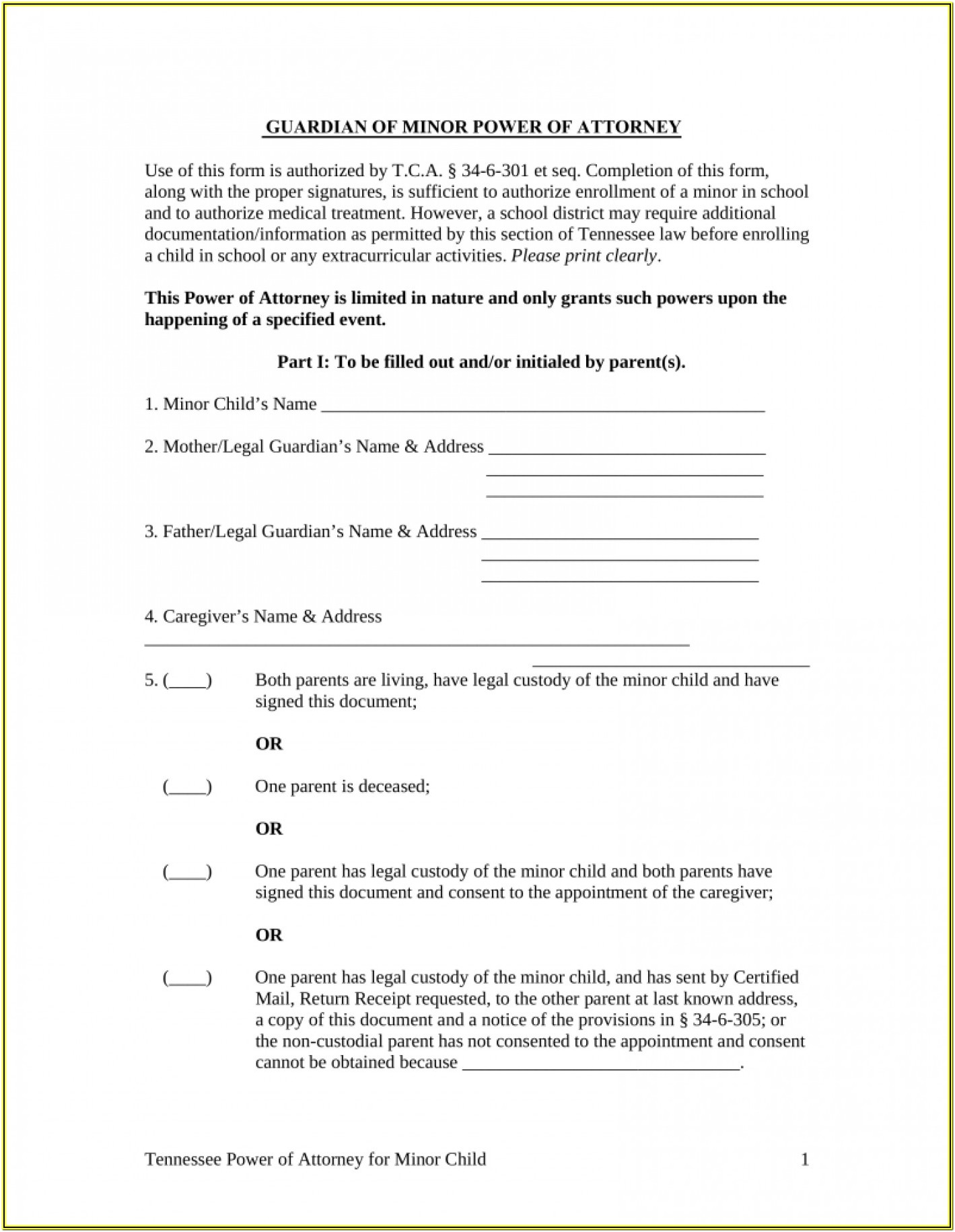 Temporary Custody Form California