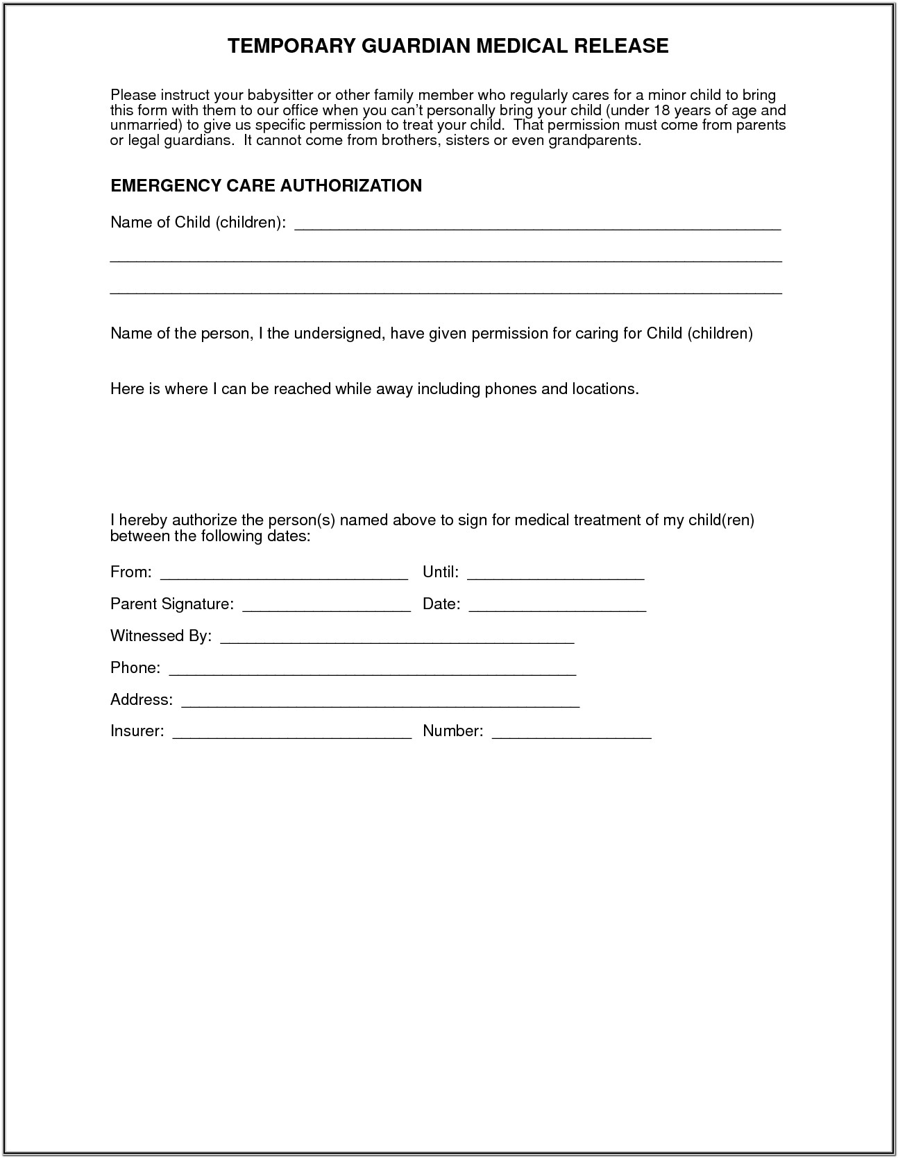 Temporary Guardian Medical Release Form