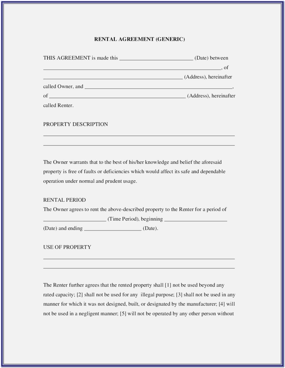 Tenancy Agreement Form Uk