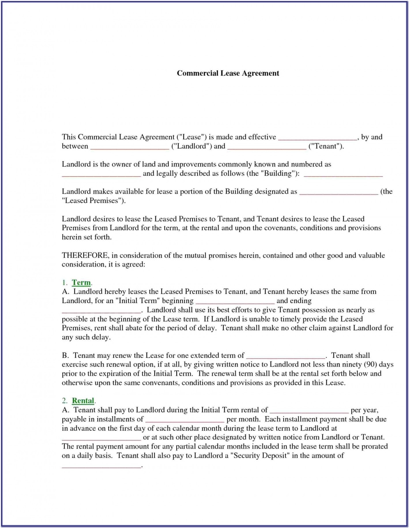 Tenancy Agreement Format