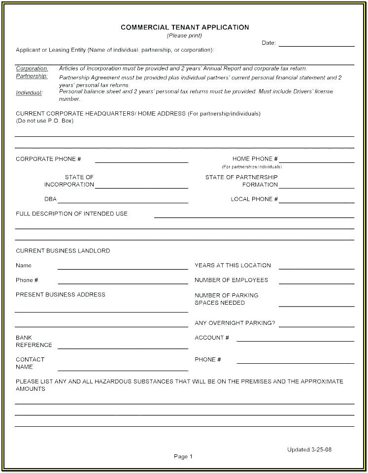 Tenancy Application Form Template Uk