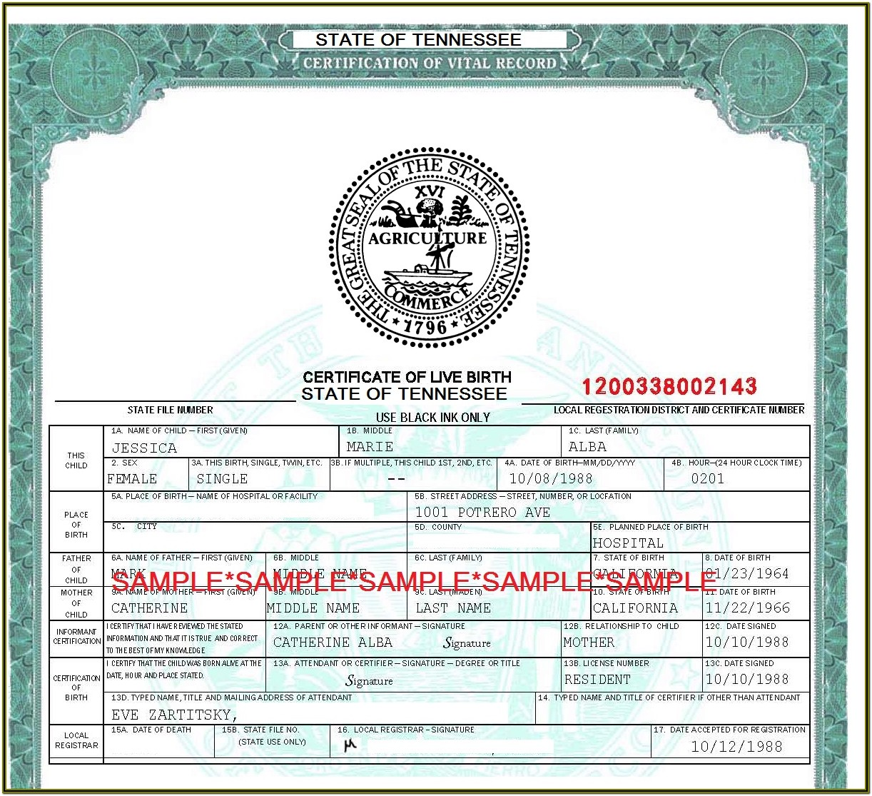 Tennessee Birth Certificate Application Form