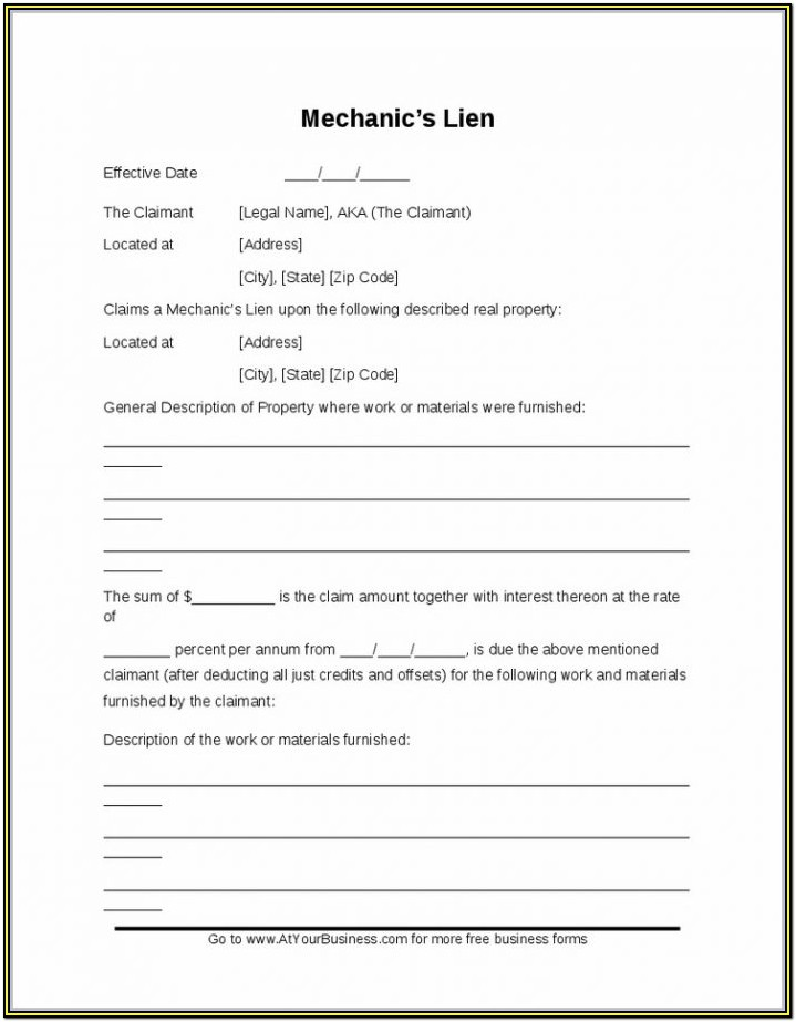 Texas Mechanics Lien Form