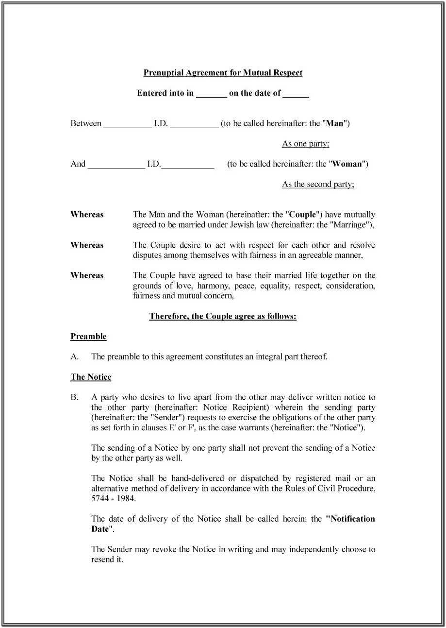 Texas Prenuptial Agreement Form Pdf