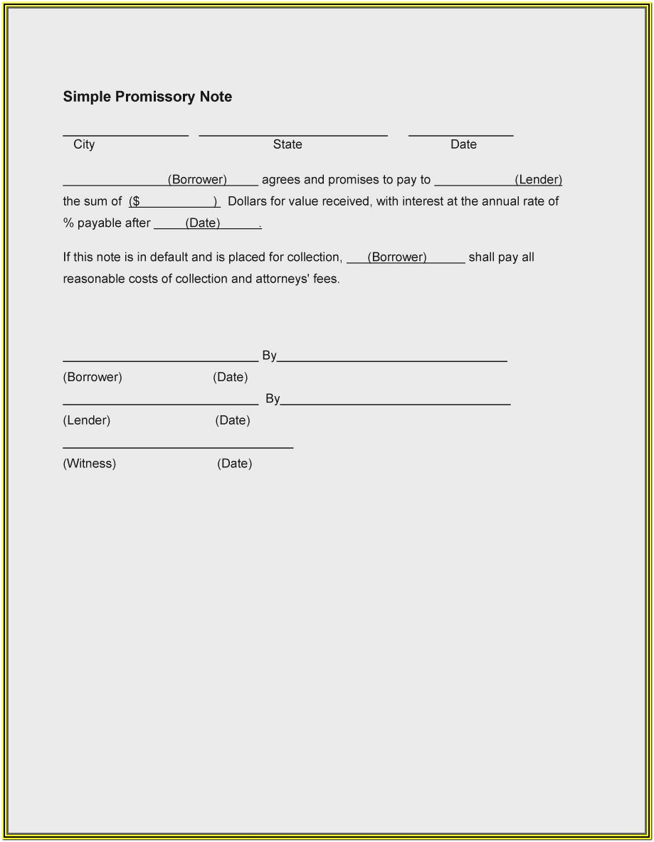 Texas Promissory Note Form