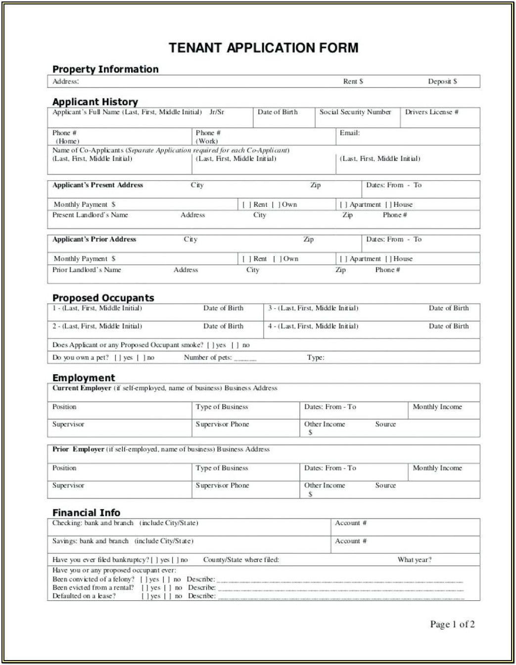 Texas Rental Application Form Pdf