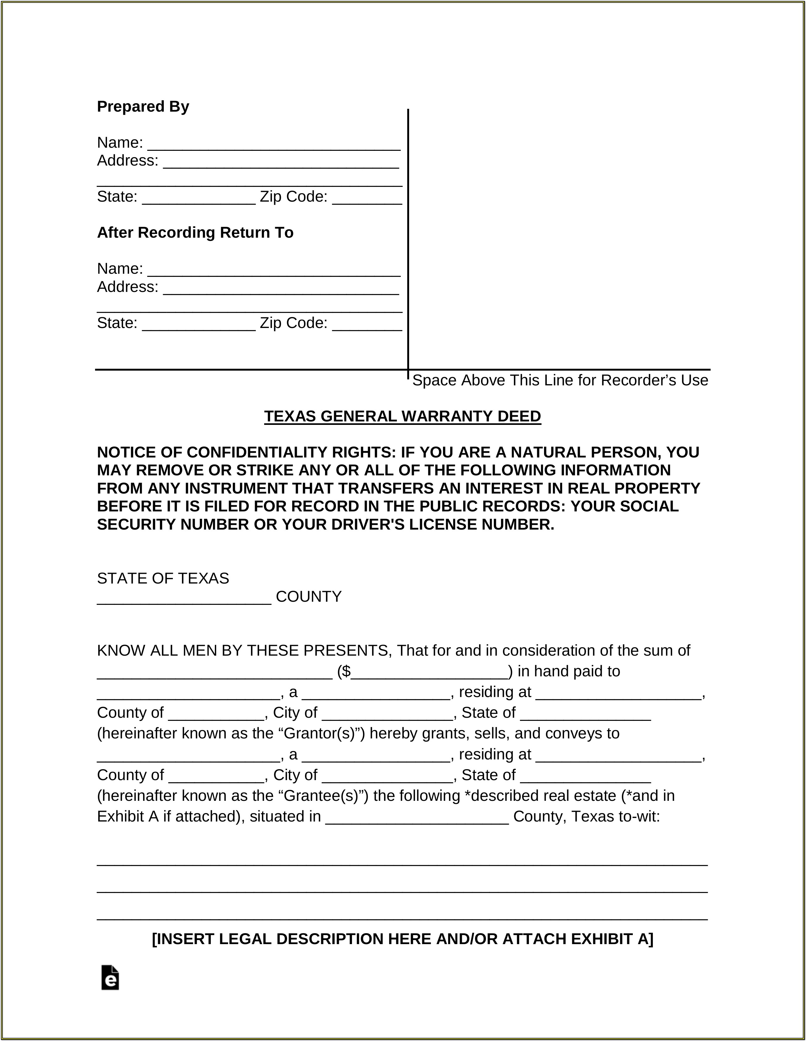 Texas Warranty Deed Form