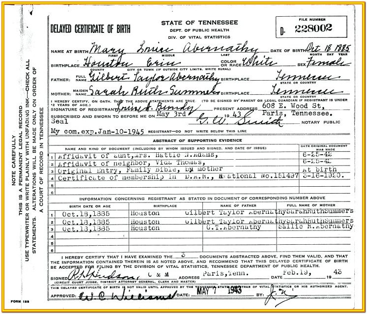 Tn Long Form Birth Certificate
