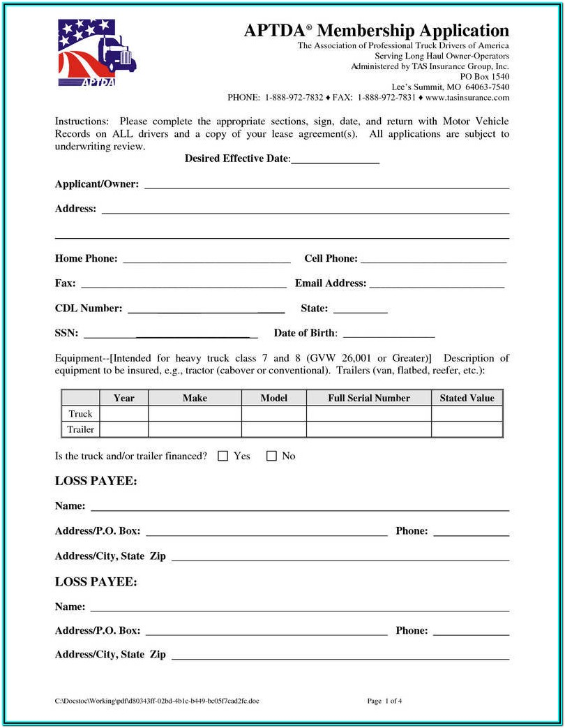 Truck Lease Agreement Form