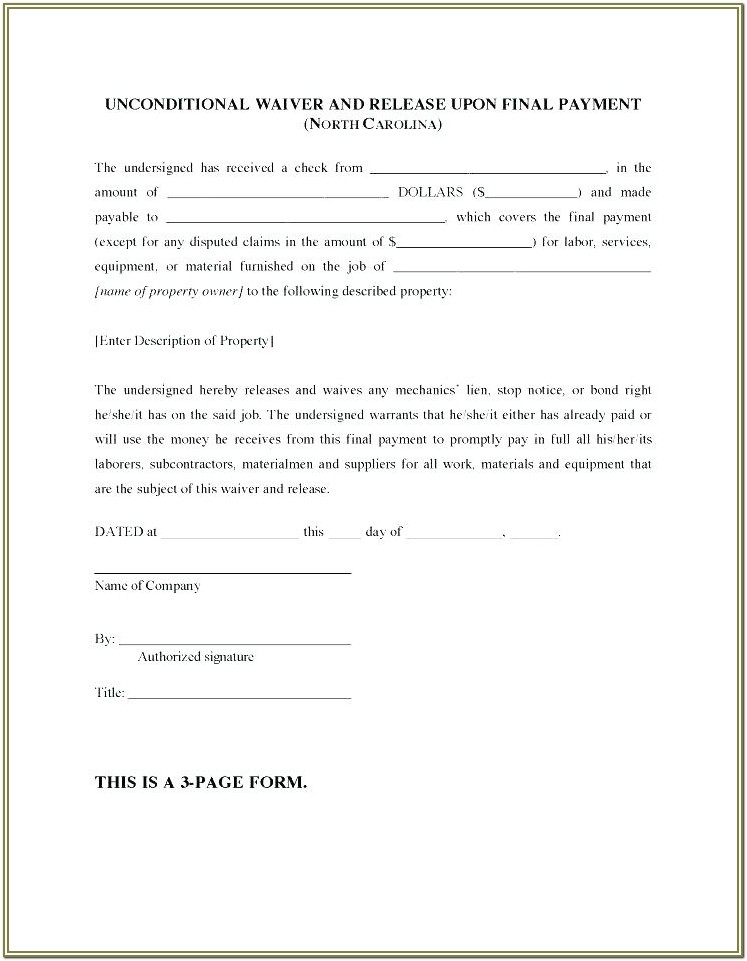 Unconditional Lien Waiver Form Arizona
