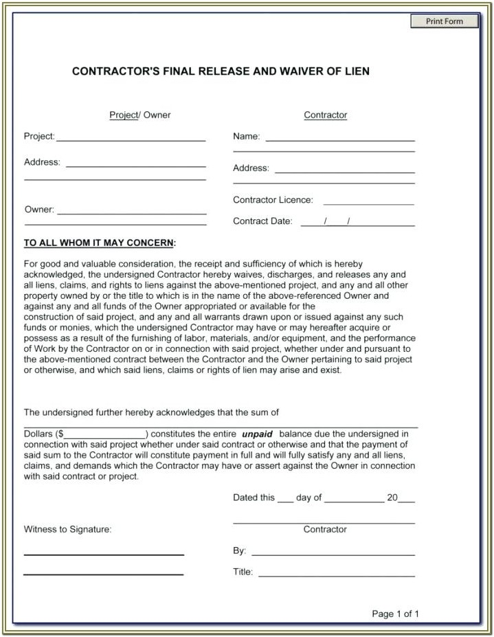 Unconditional Lien Waiver Form Pdf