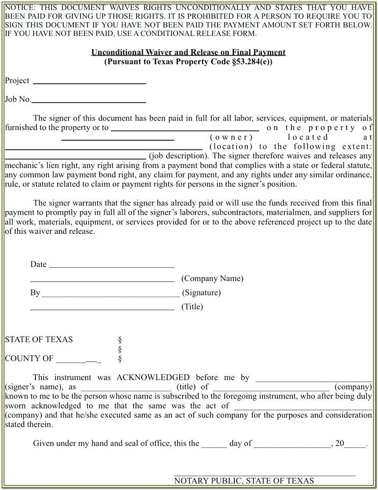 Unconditional Lien Waiver Form Texas