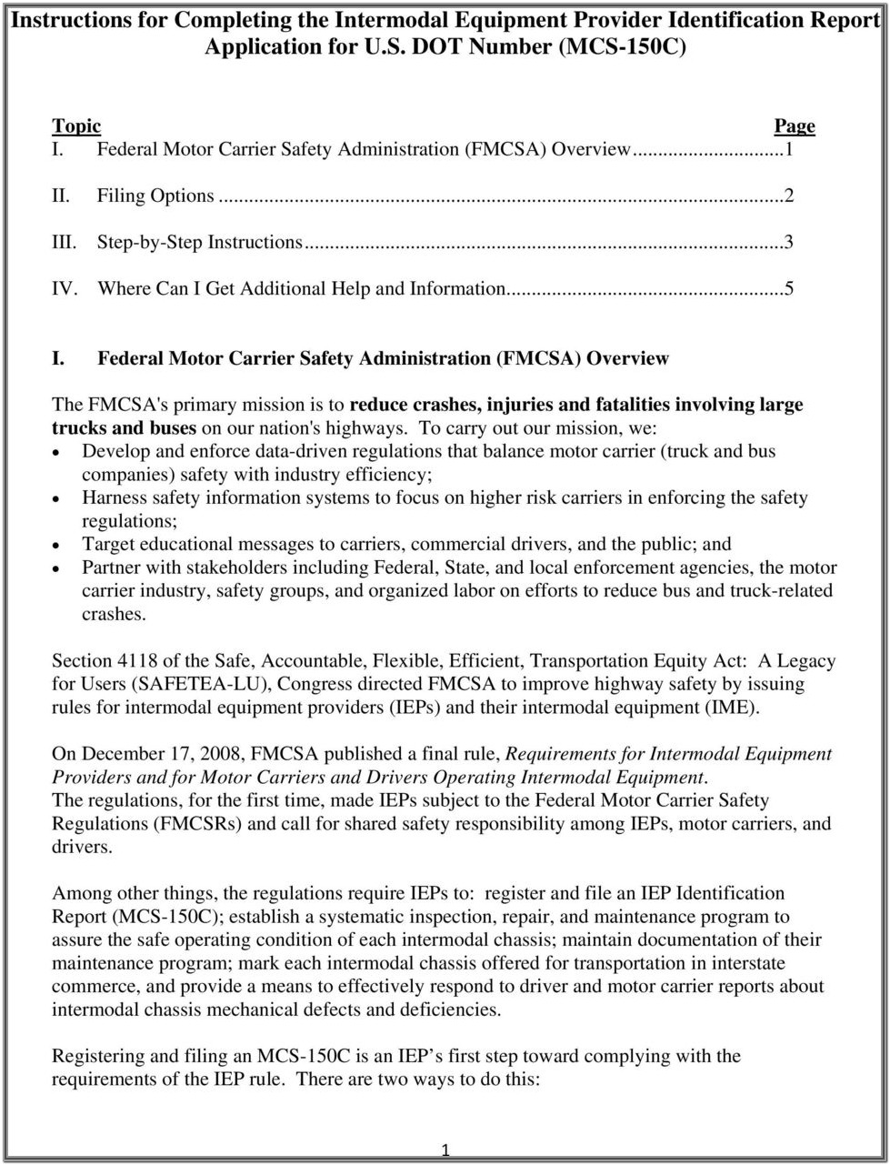 Usdot Number Application Form