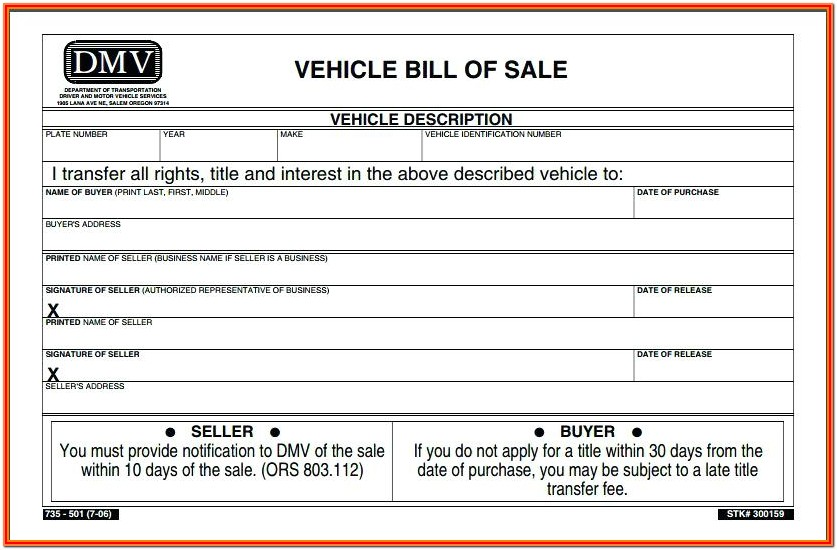 Vehicle Blank Bill Of Sale Form Nc