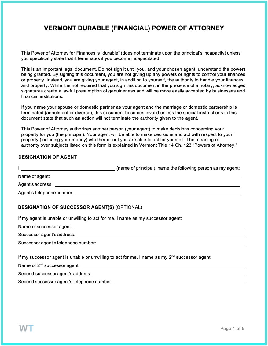 Vermont Power Of Attorney Form