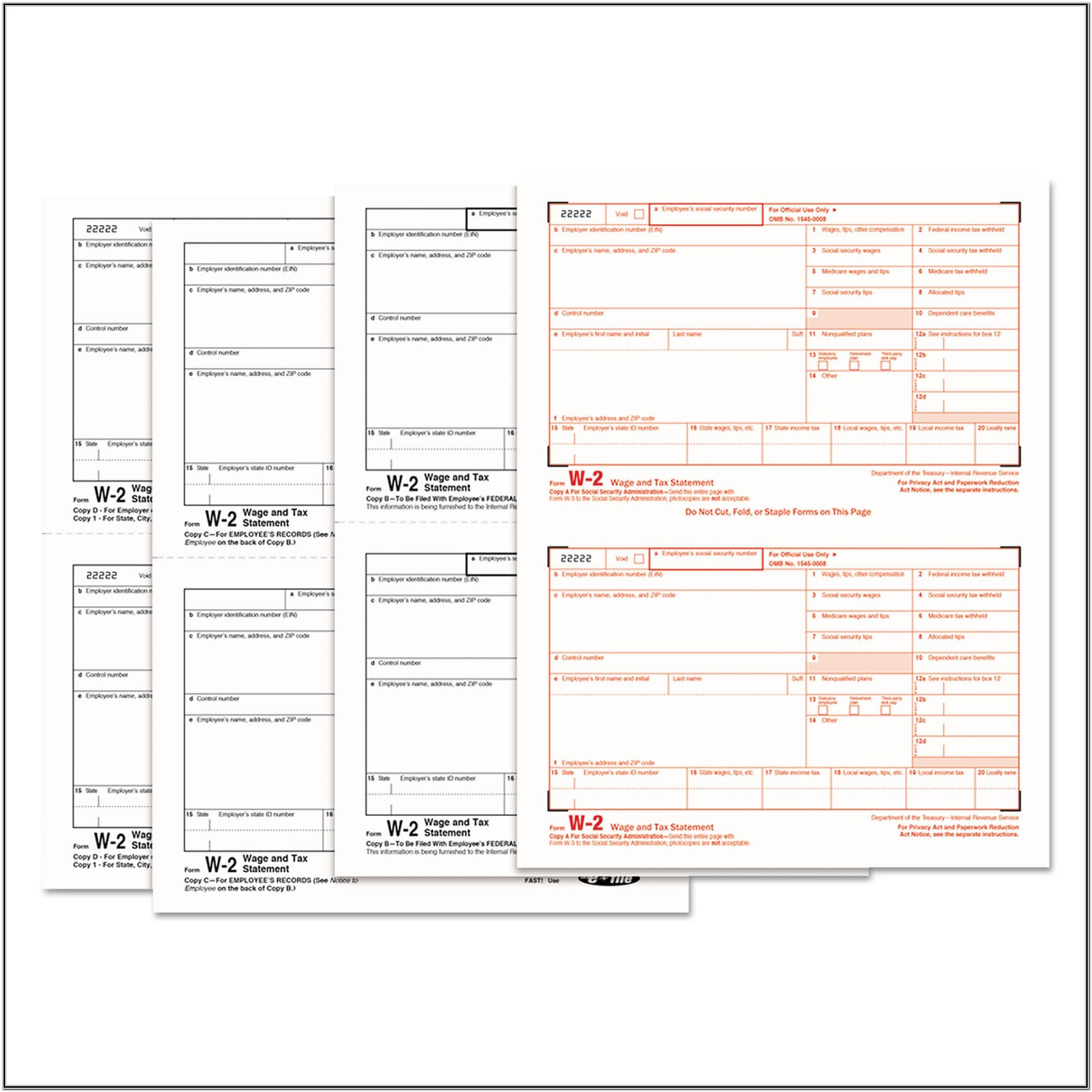 W2 Tax Return Forms