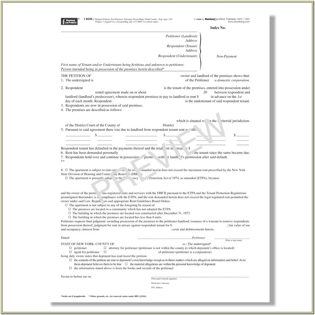 Warrant Of Eviction Form Ny