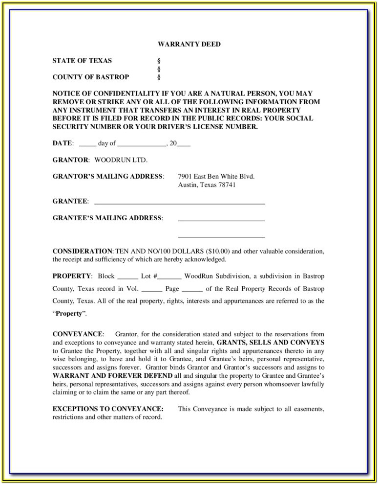 Warranty Deed Forms Texas
