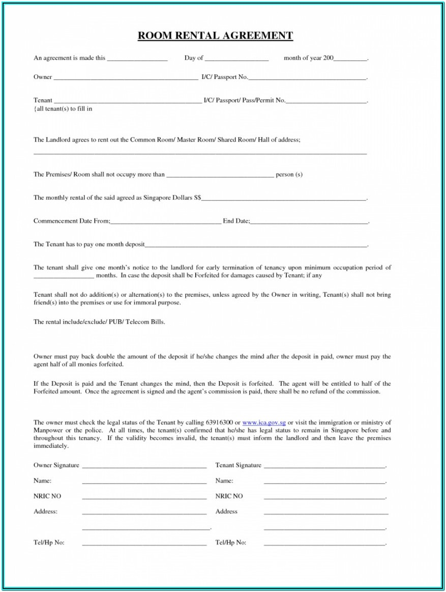 Washington State Rental Agreement Form