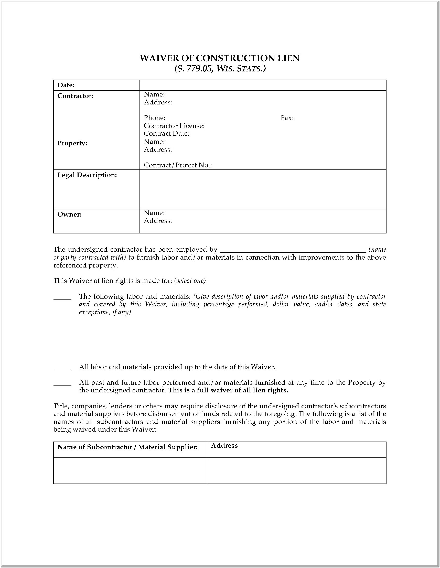Wisconsin Construction Lien Forms