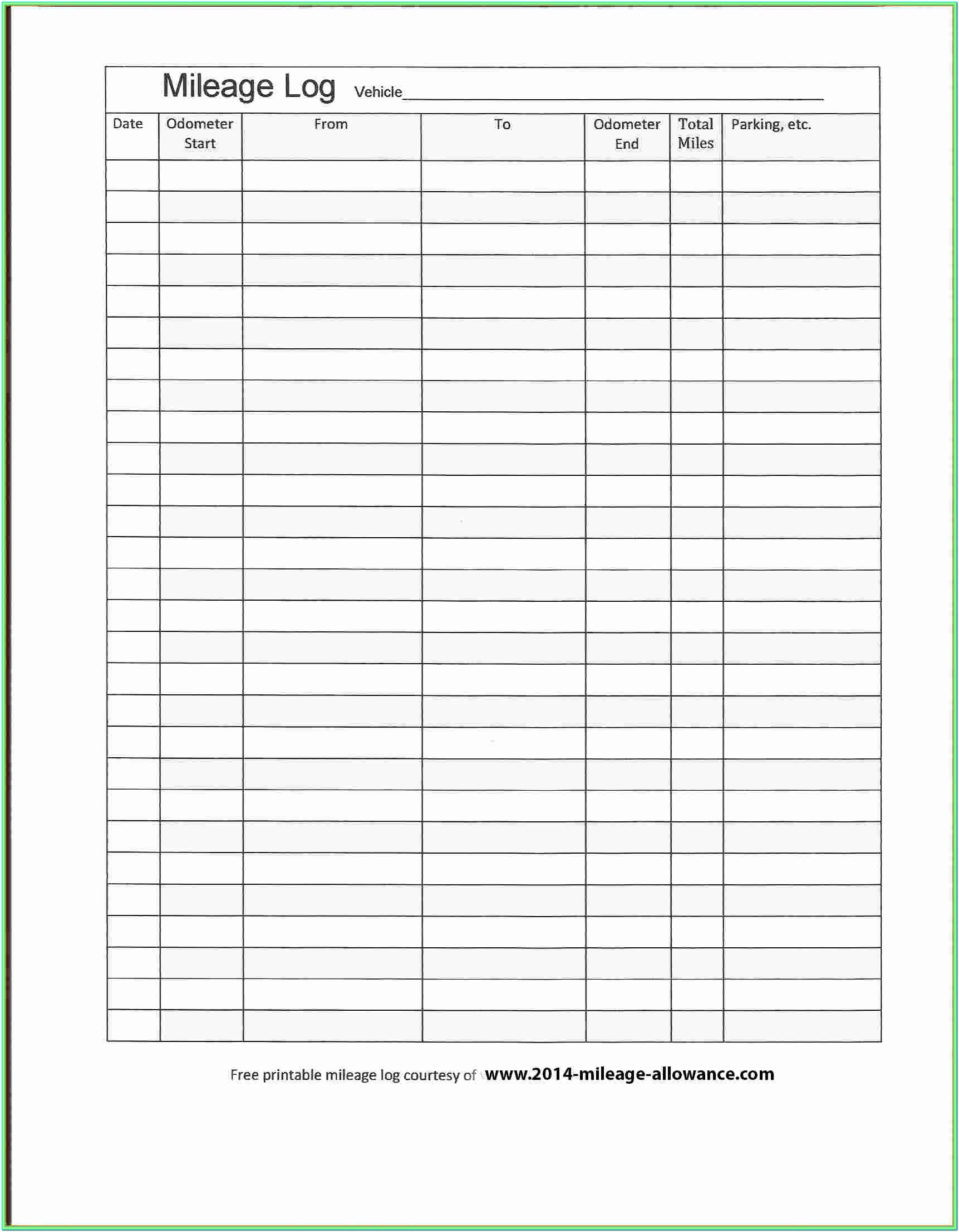 Workers Comp Mileage Form 2019